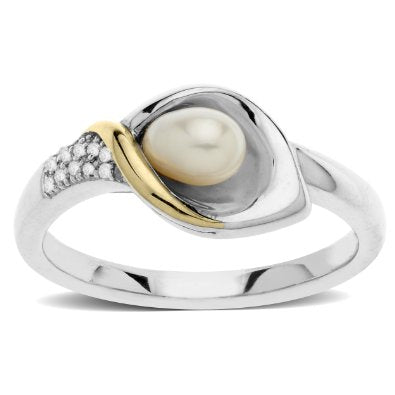 Sterling Silver and 14k Yellow Gold Freshwater Cultured Pearl and Diamond Ring - 04AB11