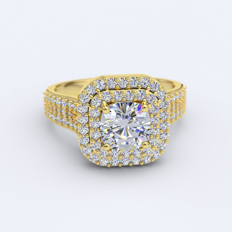 Double Halo Gold Engagement Ring - 04GG59