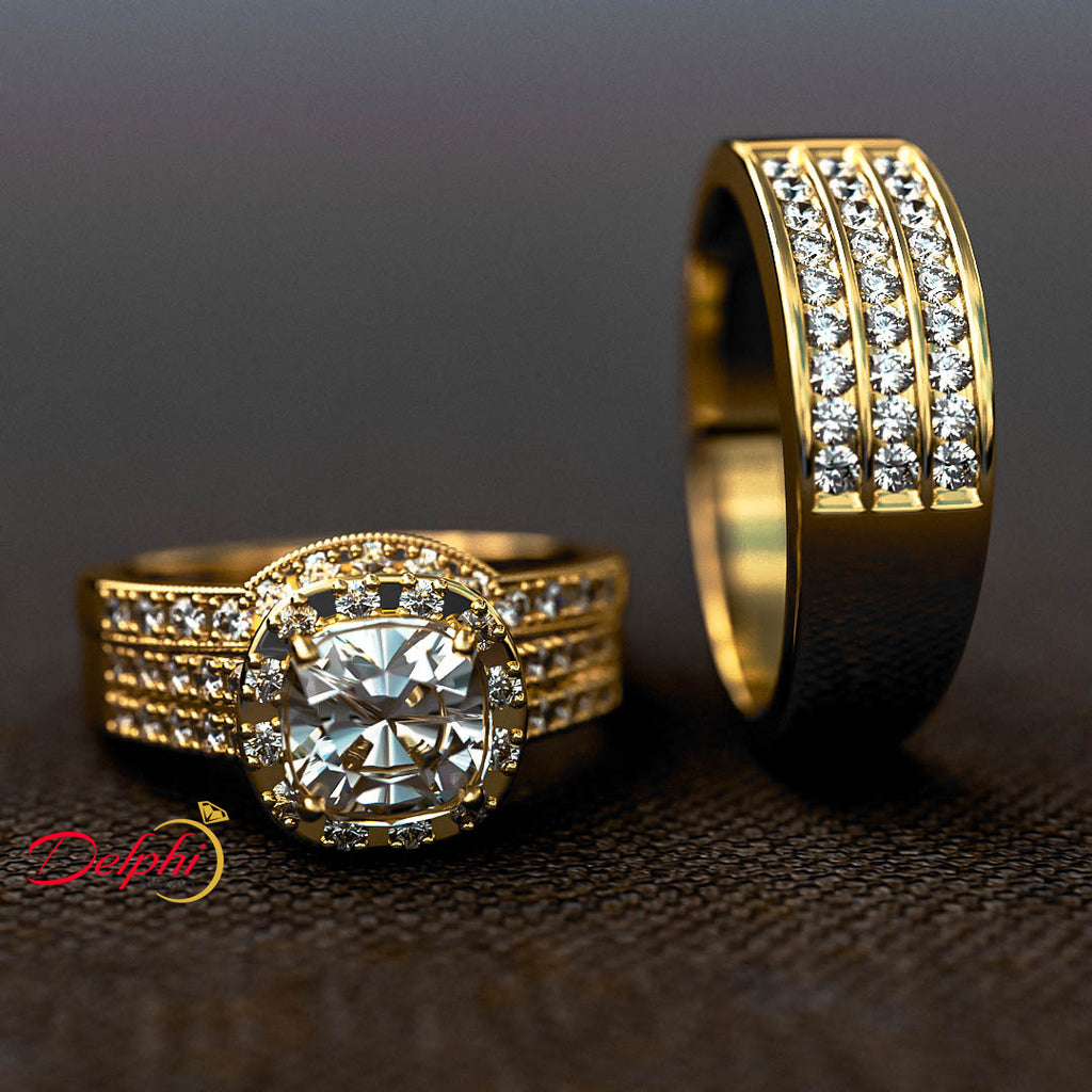 Diamond Wedding Set for His and Hers - 04RG01
