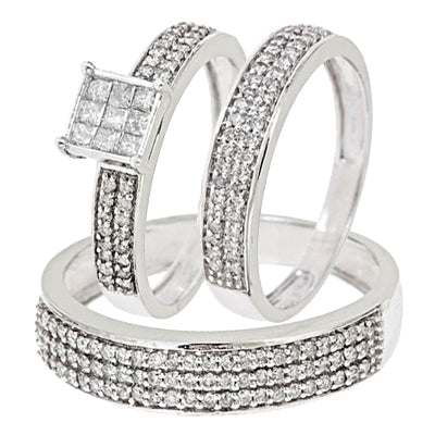 1 Carat Diamond Trio Wedding Set - 04RG07