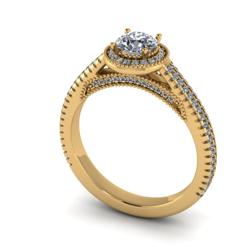 0.85ct Round Diamond Gold Pave Engagement Ring - 04US03