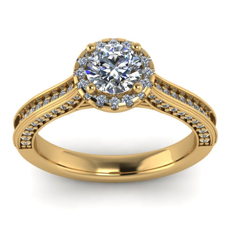 1.04ct Brilliant Cut Diamond Gold Halo Engagement Ring - 04US10
