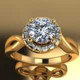 0.95ct Brilliant Cut Diamond Gold Halo Engagement Ring - 04US11