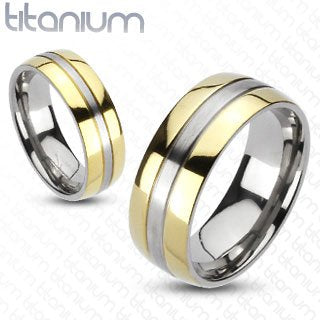 2 Solid Titanium 2-Tone Gold IP Edges Band Ring Set - 05AB08