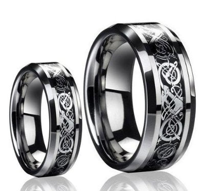 His & Her's 8MM/6MM Dragon Design Wedding Band - 05AB12