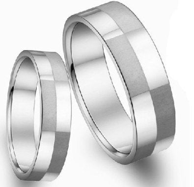 His & Hers Matching Set 6MM / 4MM Titanium bands - 05AB13