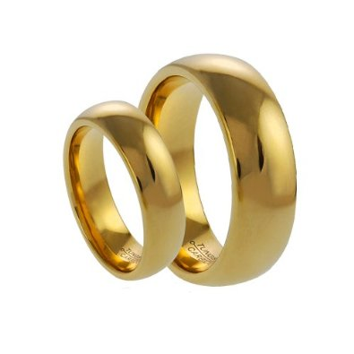 His & Her's 8MM/6MM Tungsten Carbide Shiny Gold Wedding Band  - 05AB15