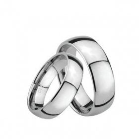 8MM & 6MM His & Her's Polished Shiny Domed Wedding Band - 05AB19