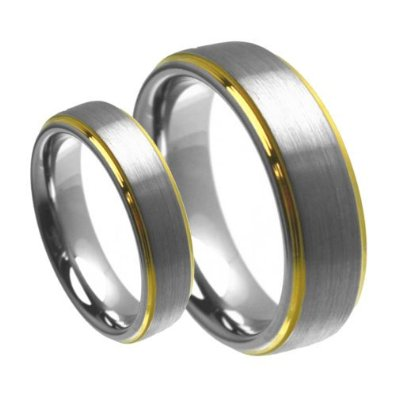 8mm/6mm Brushed Center with Gold Step Edge Wedding Band - 05Ab21