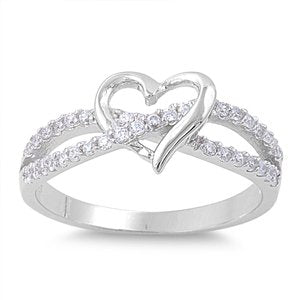 Sterling Silver Polished Twist Heart Engagement Ring - 05AB24
