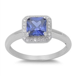 Square Tanzanite Cubic Zirconia Ring - 05AB31