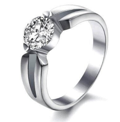 Titanium Engagement Ring (Tarnish Free and Life Warranty) - 05AB36