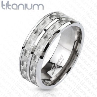 Solid Titanium White Carbon Fiber Inlay Band - 05AB48