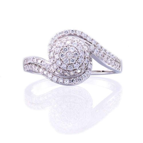 Clear Cubic Zirconia Circle Engagement Wedding Ring - 05AB74