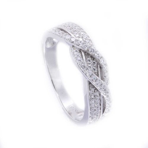Cubic Zirconia Woven Engagement Wedding Ring - 05AB76