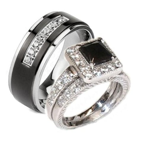 His & Her 3 Piece Black & White Cz Wedding Ring Set - 05Ab77