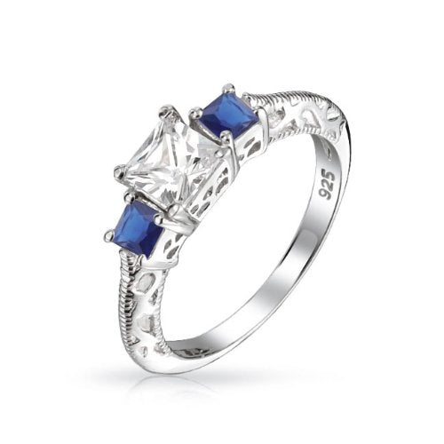 3 Stone Sapphire Color Princess Cut Engagement Ring - 05AB78