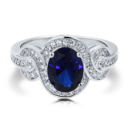 Sapphire Cubic Zirconia CZ Sterling Silver Ring - 05AB80