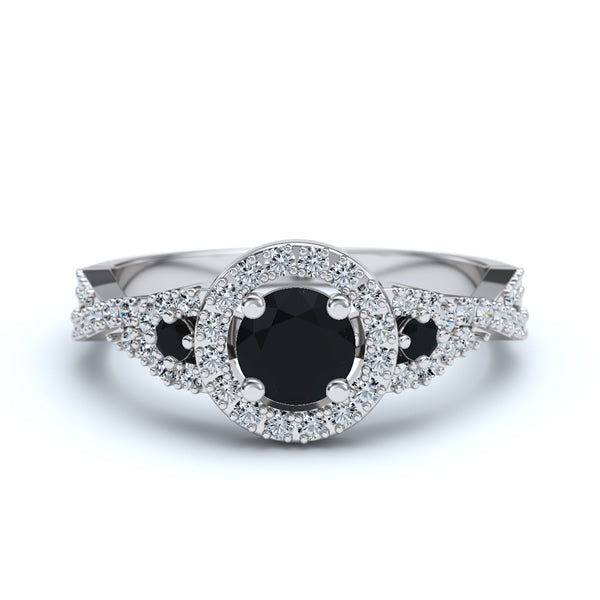 Gold with Black Onyx Engagement Ring - 05GG37