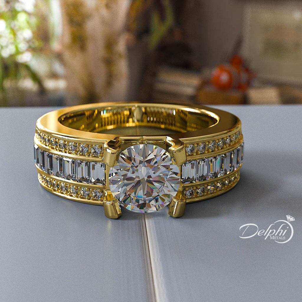 Wide Gold Engagement Ring - 05GG39