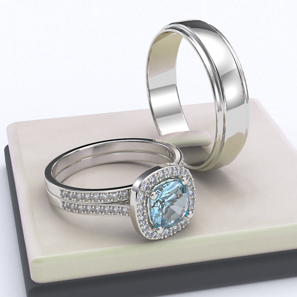 Gold with Aquamarine Complete Wedding Set - 05GG40
