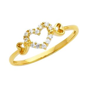 Yellow Gold Heart Solitaire Round-cut Promise Ring Band