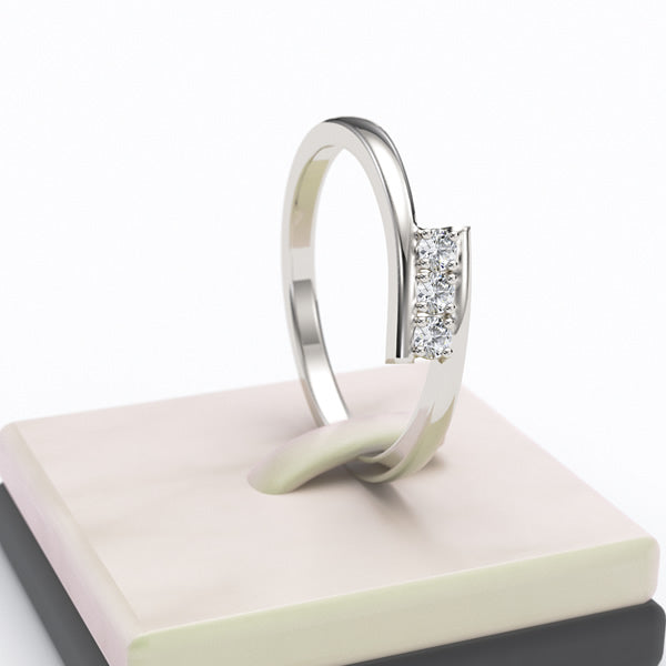 3 Stone Channel Set Round Diamond Engagement Ring - 05GG8