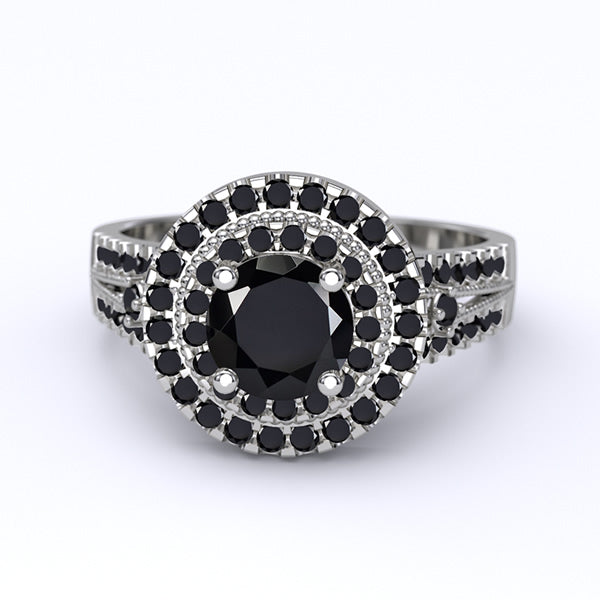 Black Onyx Gold Engagement Ring - 05GG92