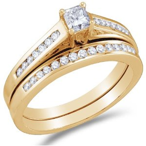 Yellow Gold Diamond Classic Traditional Ladies Bridal Set