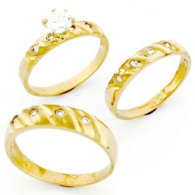 Gold His & Hers Trio Wedding Ring Sets