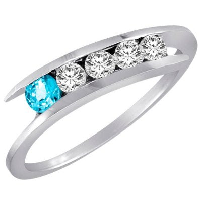 White Gold 5 Stone Graduated Channel Set Round Diamond & Blue Topaz Accented Ring