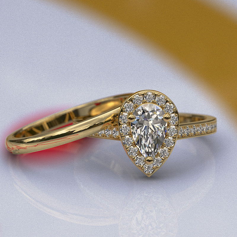 0.76ct Certified Pear Shape Diamond Gold Halo Bridal Set - 06GG44