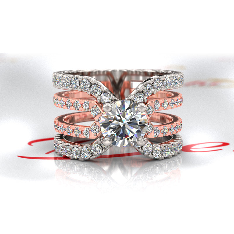 White/Rose Gold Split Shank Round Wedding Ring - 06GG47
