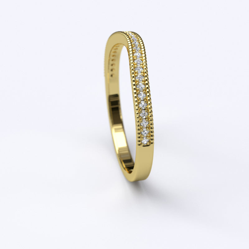 Gold 0.14ct Diamond Curved Half Eternity Stackable Wedding Anniversary Band Ring - 06GG64