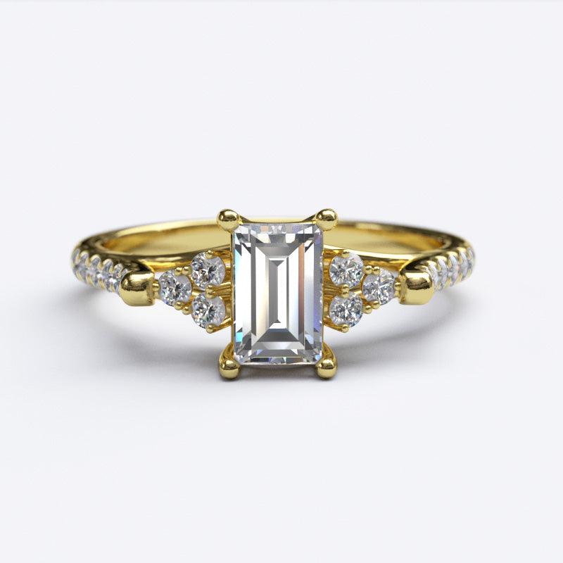 0.5 Ct Emerald Cut Cathedral Diamond Gold Engagement Ring