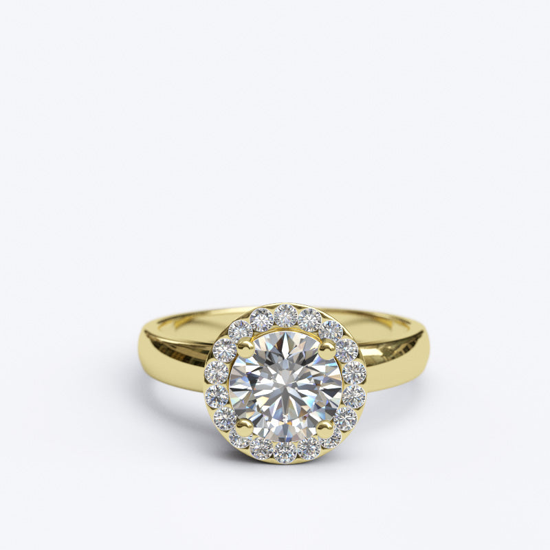 1.35ct Brilliant Cut Diamond Halo Gold Engagement Ring - 06GG73