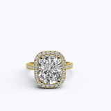 2.5ct Cushion Cut Diamond Halo Gold Engagement Ring - 06GG74