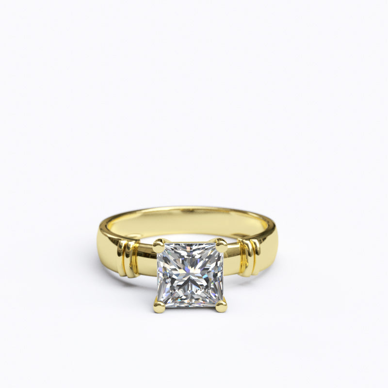 1.6ct Princess Cut Solitaire Gold Engagement Ring - 06GG75