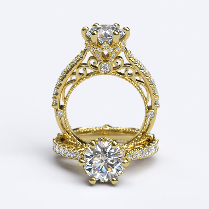 1.9ct Brilliant Cut Diamond Vintage Inspired Gold Engagement Ring - 06GG78