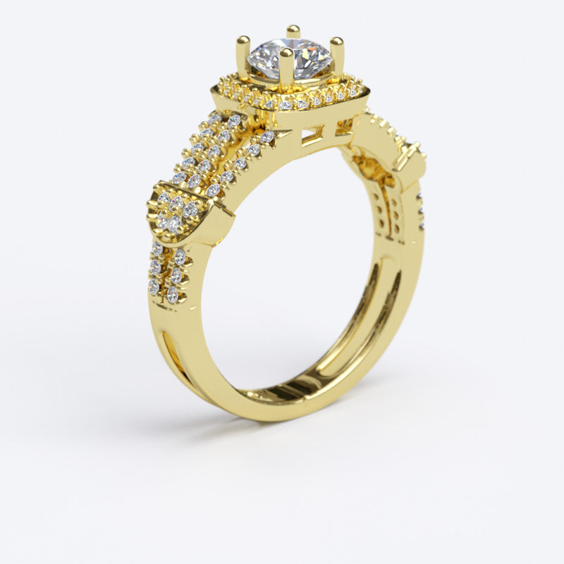 0.85ct Brilliant Cut Single Halo Gold Engagement Ring with Split Shank - 06GG79