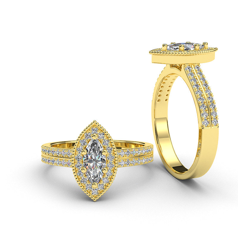 0.7ct Marquise Cut Diamond Gold Engagement Ring - 06GG94A