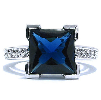 Sterling Silver Sapphire Engagement Ring - 07AB21