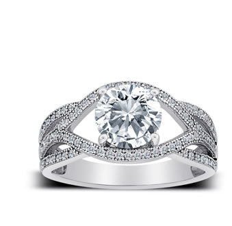 MicroPave CZ Sterling Silver Engagement Ring - 07AB42