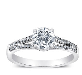 MicroPave CZ Sterling Silver Solitaire Engagement Ring - 07AB43