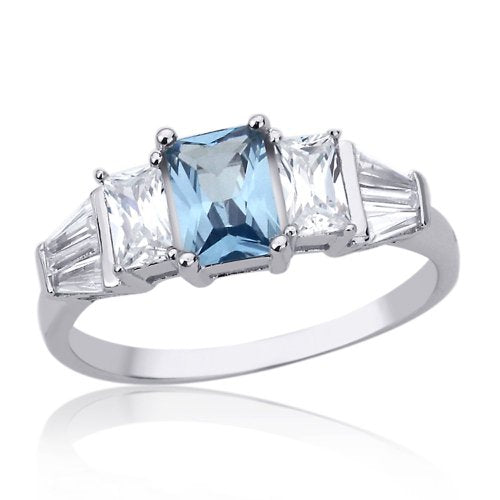 Sterling Silver 7mm Emerald Cut Aquamarine Engagement Ring - 07AB49