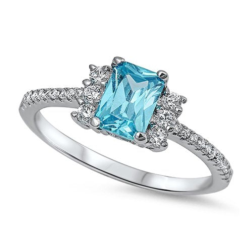 Prong-Set Princess Cut Aquamarine Engagement Ring - 07AB50