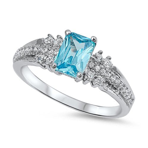 Princess Cut Aquamarine Engagement Ring - 07AB51