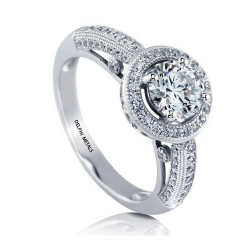 Sterling Silver Halo Engagement Ring - 07AB60