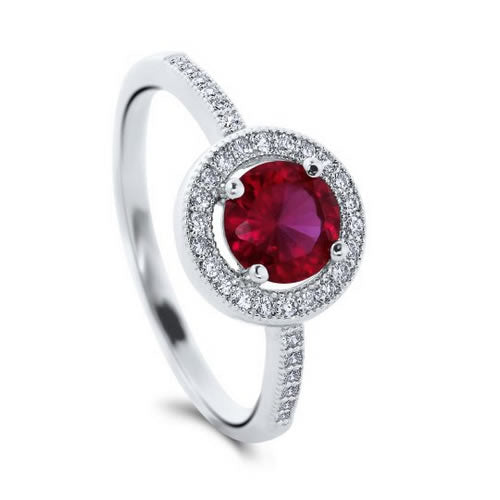 Simulated Ruby 925 Engagement Ring - 07AB63