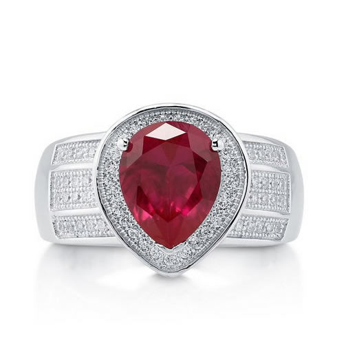 Simulated Ruby 925 Silver Cocktail Fashion Ring - 07AB64